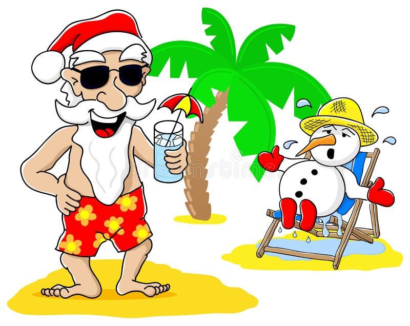 Santa claus and snowman at christmas on vacation at the beach royalty free illustration