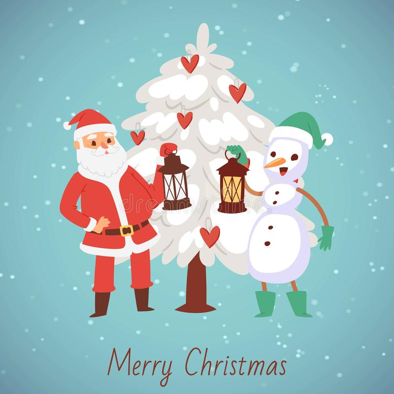 Santa Claus and snowman with laterns and snowy christmas tree vector cartoon illustration. Merry Christmas and happy new stock illustration