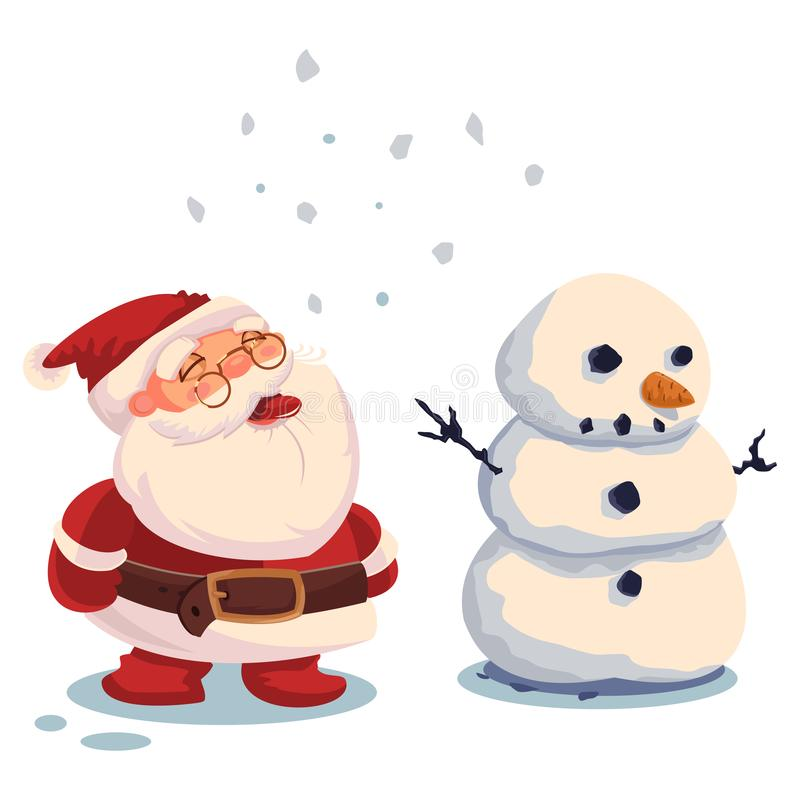 Santa Claus and snowman. Vector Christmas illustration on a white background royalty free stock images
