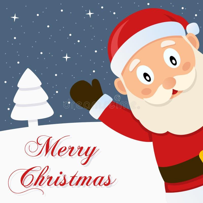 Santa Claus Snowy Merry Christmas Card royalty free illustration