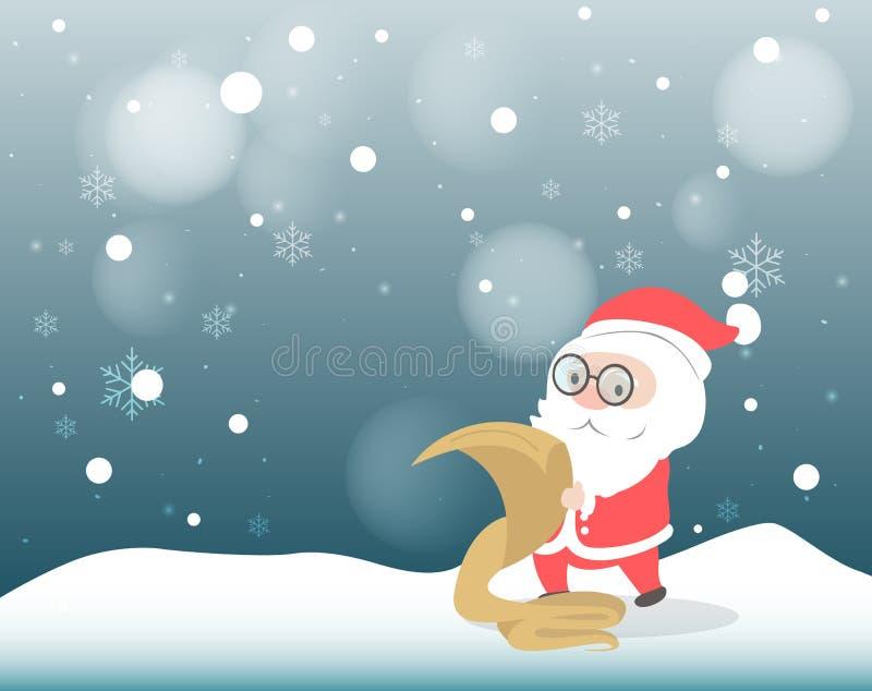 Santa Claus som dubbelkontrollerar hans lista vektor illustrationer