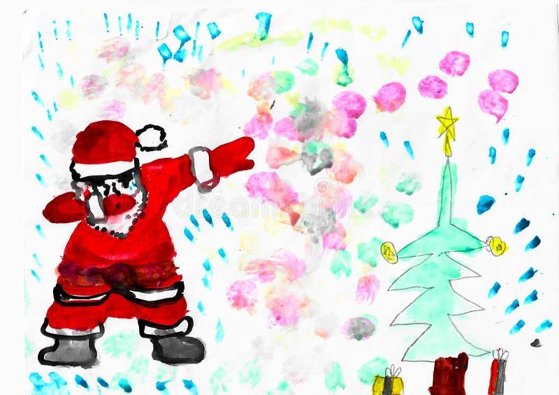 Santa Claus som gör klicken, barnteckning royaltyfria bilder