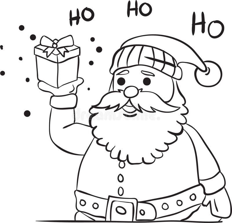 Santa Claus som ger gåvafärgläggningboken royaltyfri illustrationer