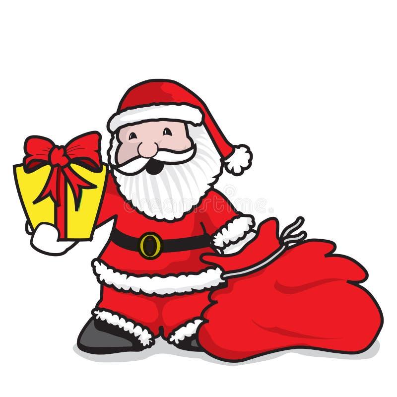 Santa Claus som ger gåvor royaltyfri illustrationer