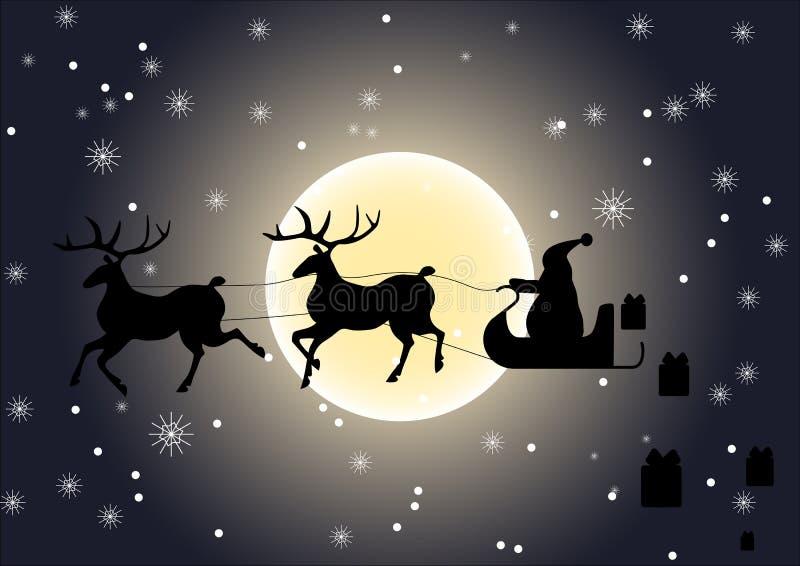 Santa Claus som ger gåvor vektor illustrationer
