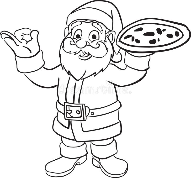 Santa Claus som ger pizzafärgläggningboken vektor illustrationer