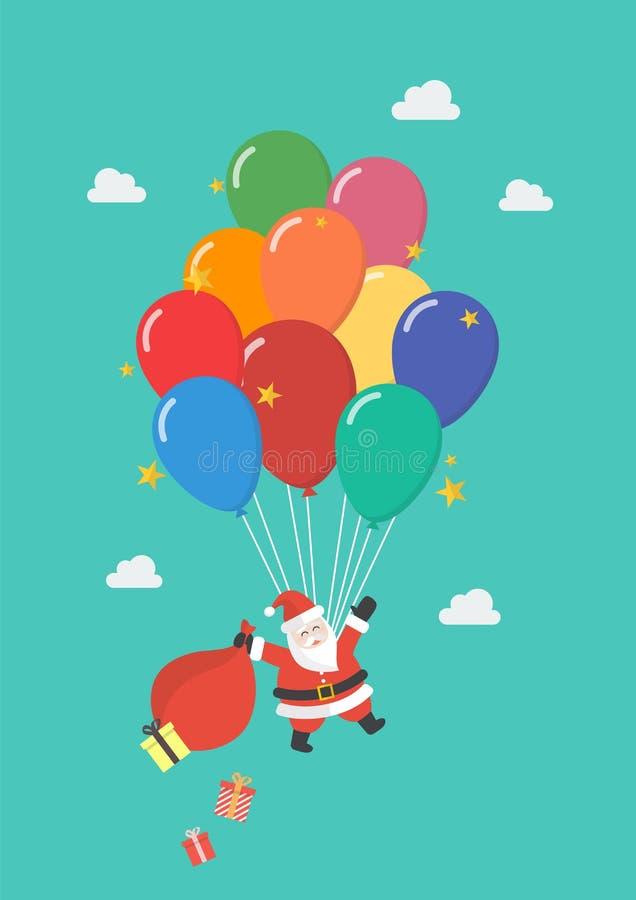Santa Claus som hänger på ballongen royaltyfri illustrationer