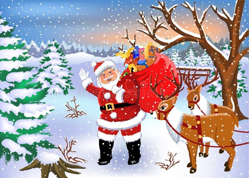 Santa Claus som kommer med leksaker till barn i hans säck royaltyfri illustrationer