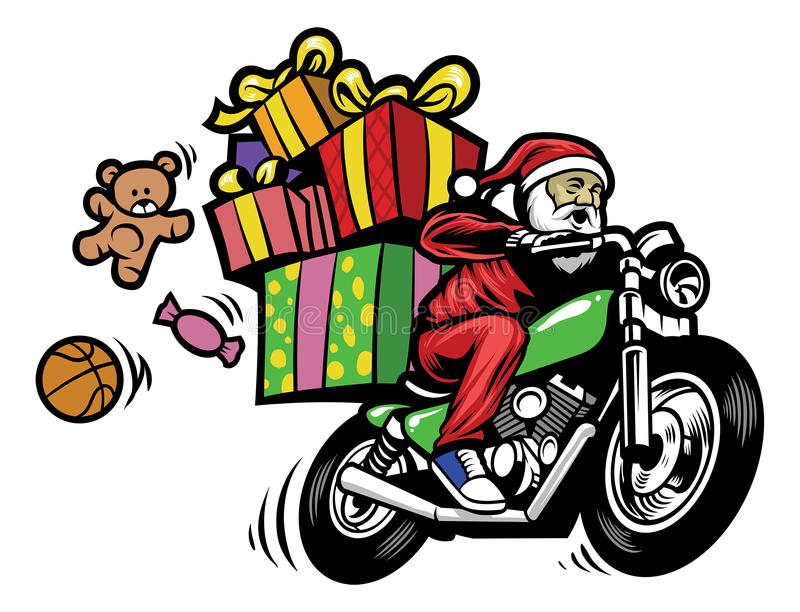 Santa Claus som levererar julgåvan, genom att rida en motorcykel vektor illustrationer