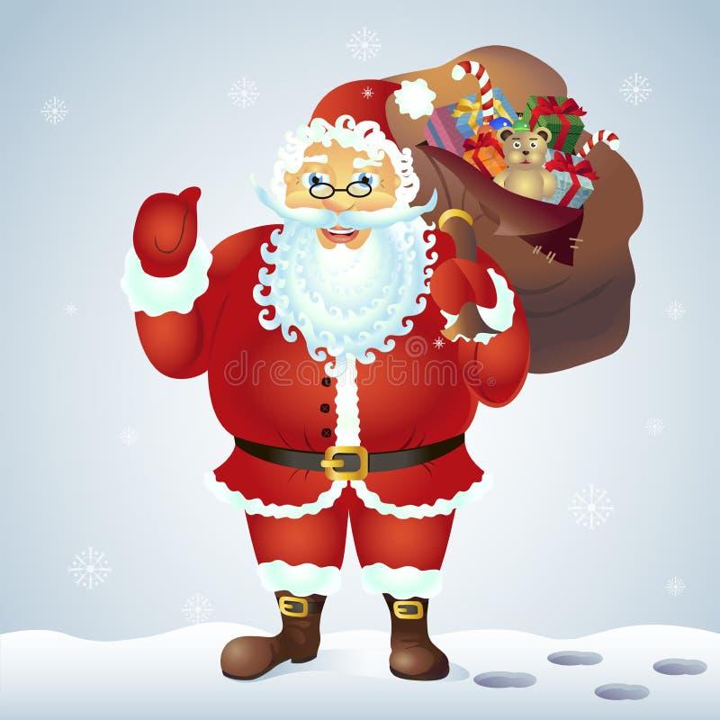 Santa Claus som mycket ger tummen upp den near säcken av gåvor som isoleras på vit bakgrund Illustration för vektor för Santa Cla royaltyfri illustrationer