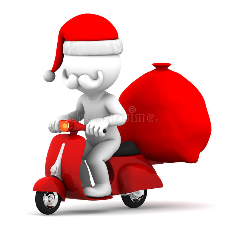 Santa Claus som rider en sparkcykel stock illustrationer