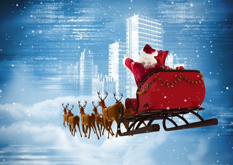 Santa Claus som rider släden för ren 3D mot staden arkivfoton