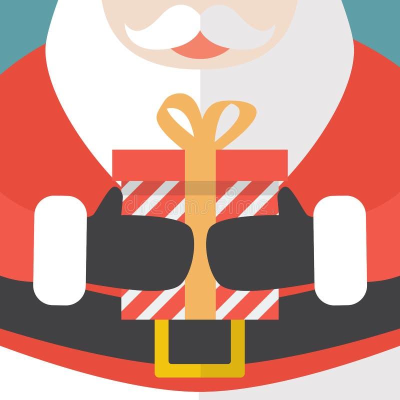 Santa Claus som rymmer en julgåva vektor illustrationer