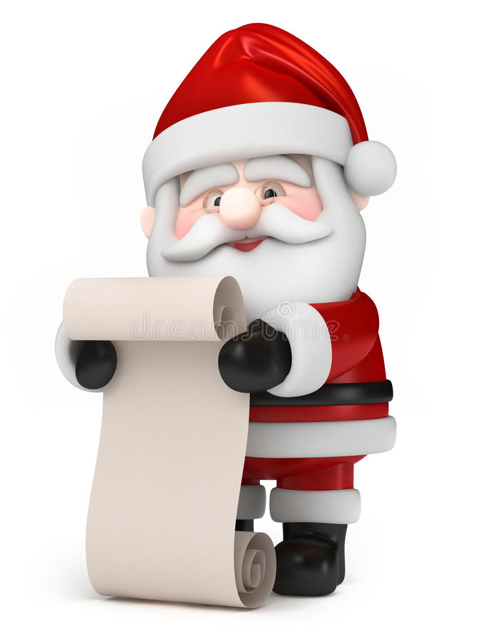Santa Claus som rymmer en lista royaltyfri illustrationer