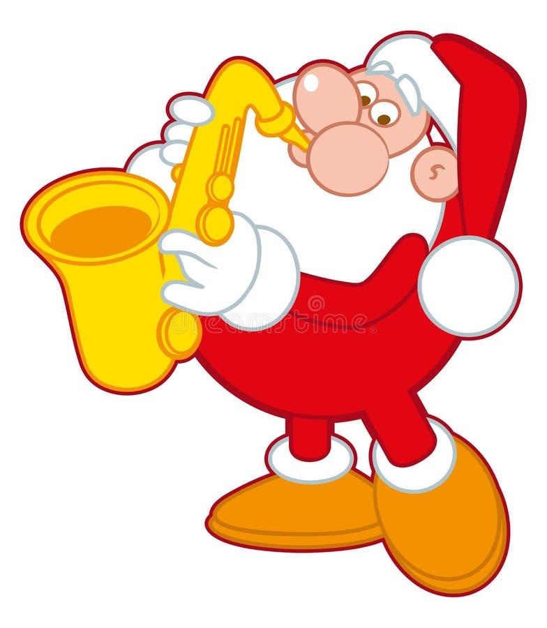 Santa Claus som spelar saxofonen stock illustrationer