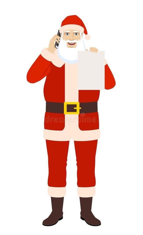 Santa Claus som talar på mobiltelefonen och visar mellanrumet stock illustrationer