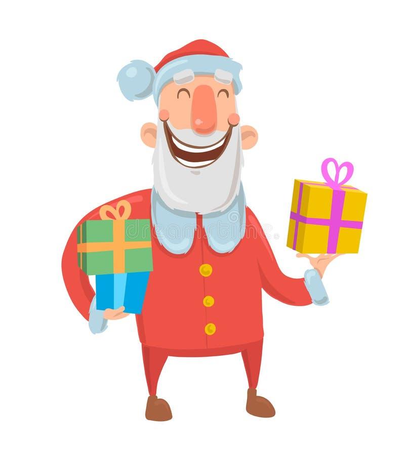 Santa Claus sonriente divertida lleva presentes en cajas coloridas en el fondo blanco Feliz Navidad y Feliz Año Nuevo stock de ilustración