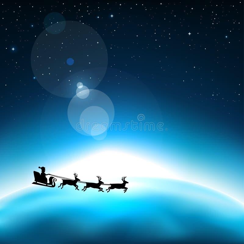 Santa claus in space vector illustration