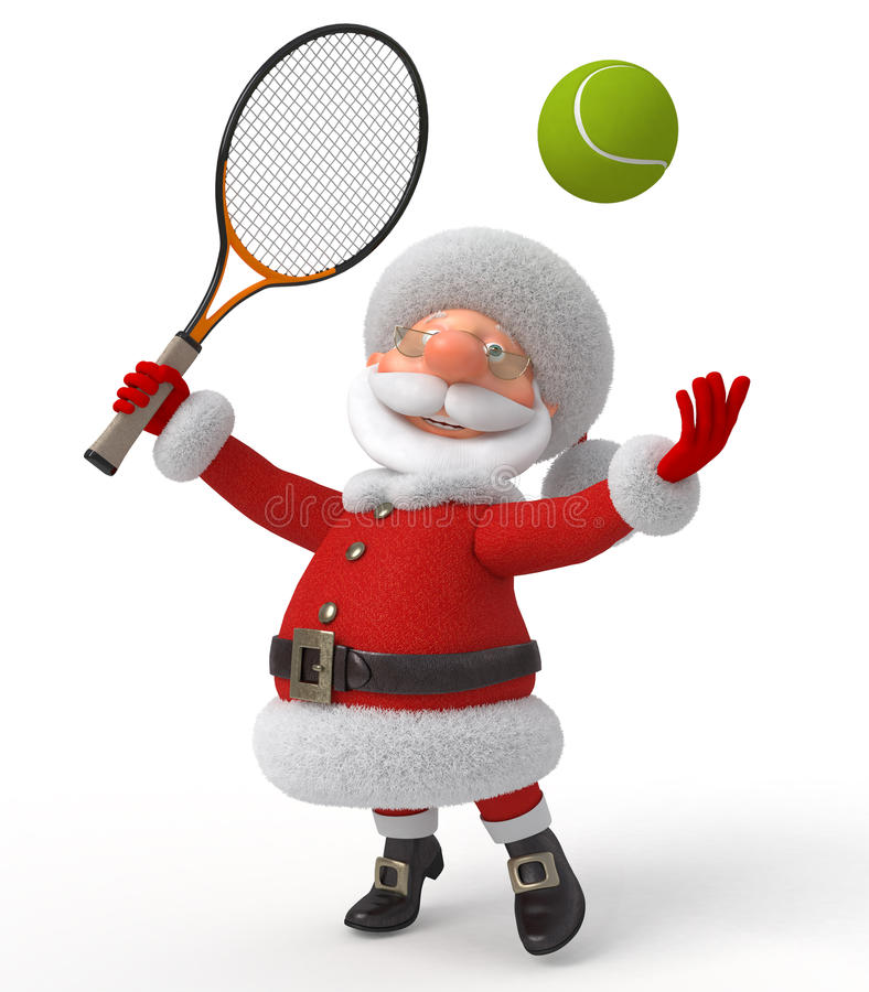 Santa Claus speelt tennis stock illustratie