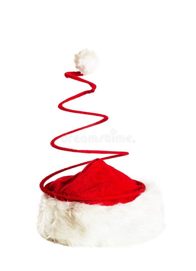Santa Claus Spiral Hat a isolé sur le blanc images stock