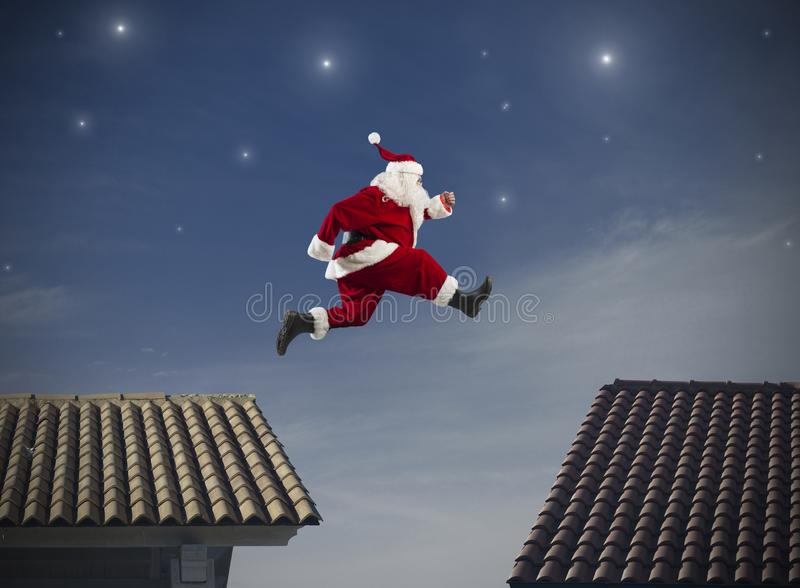 Santa Claus-sprong stock foto