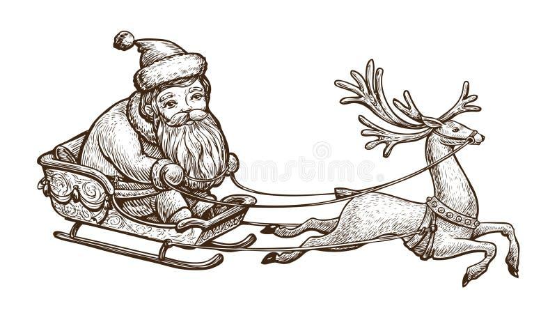 Santa Claus sta guidando in una slitta Concetto di Natale Illustrazione d'annata di vettore di schizzo illustrazione vettoriale
