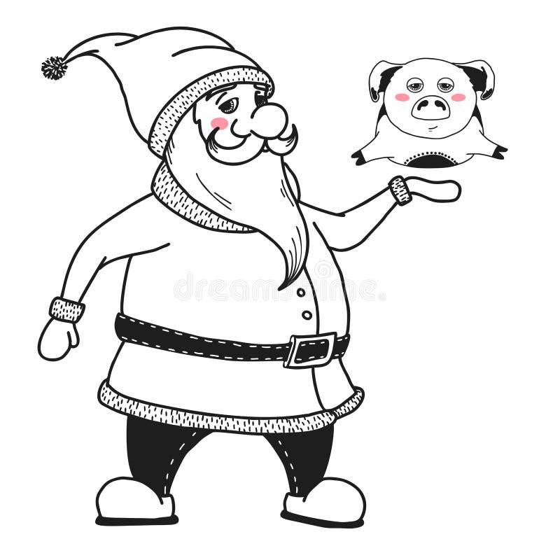 Santa Claus sta tenendo un maiale Illustrazione di vettore illustrazione vettoriale