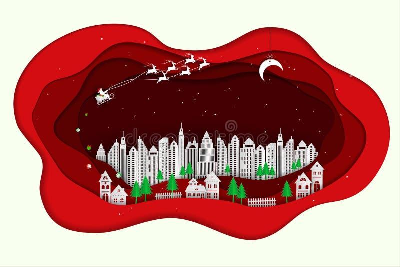 Santa Claus sta venendo alla città sul backgroud di carta rosso dell'estratto di arte illustrazione di stock