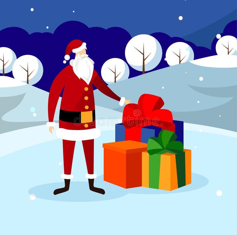 Santa Claus Stand divertente vicino alla grande pila di presente royalty illustrazione gratis