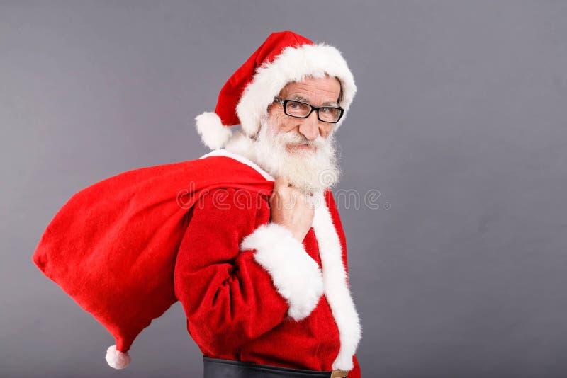 Santa Claus Standing With The Bag fotografia de stock royalty free