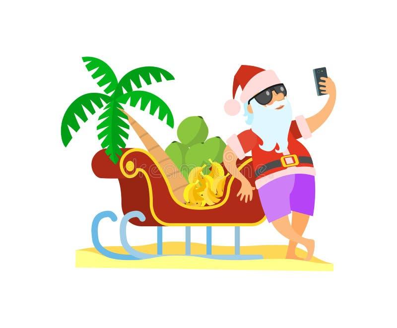 Santa Claus Standing cerca del vector de la Navidad del trineo ilustración del vector
