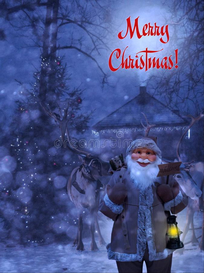 Christmas greeting card Santa Claus is coming to town stock image