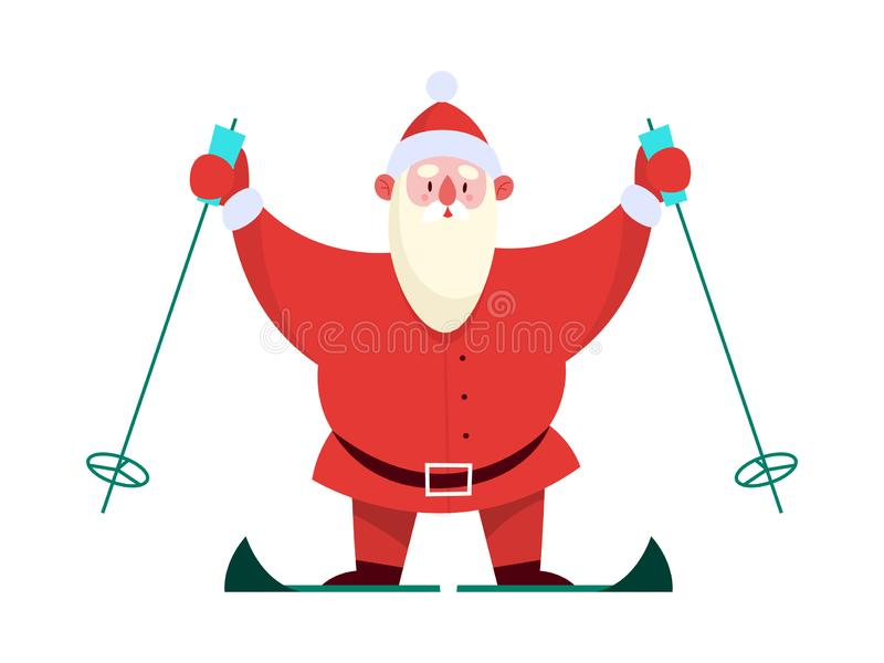 Santa Claus standing with skis on. Cute holiday season cartoon illustration. vector illustration