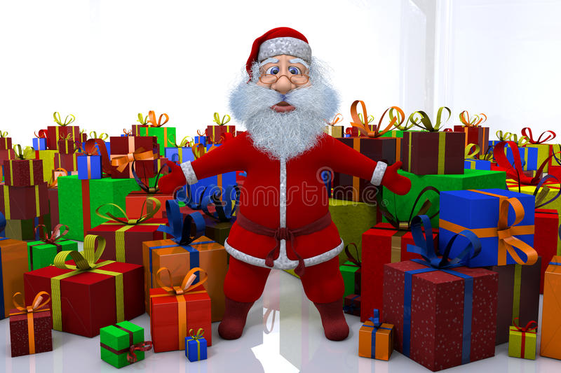 Download Santa Claus Stands Round The Great Number Of Gifts Stock Illustration - Illustration of white, season: 27919932