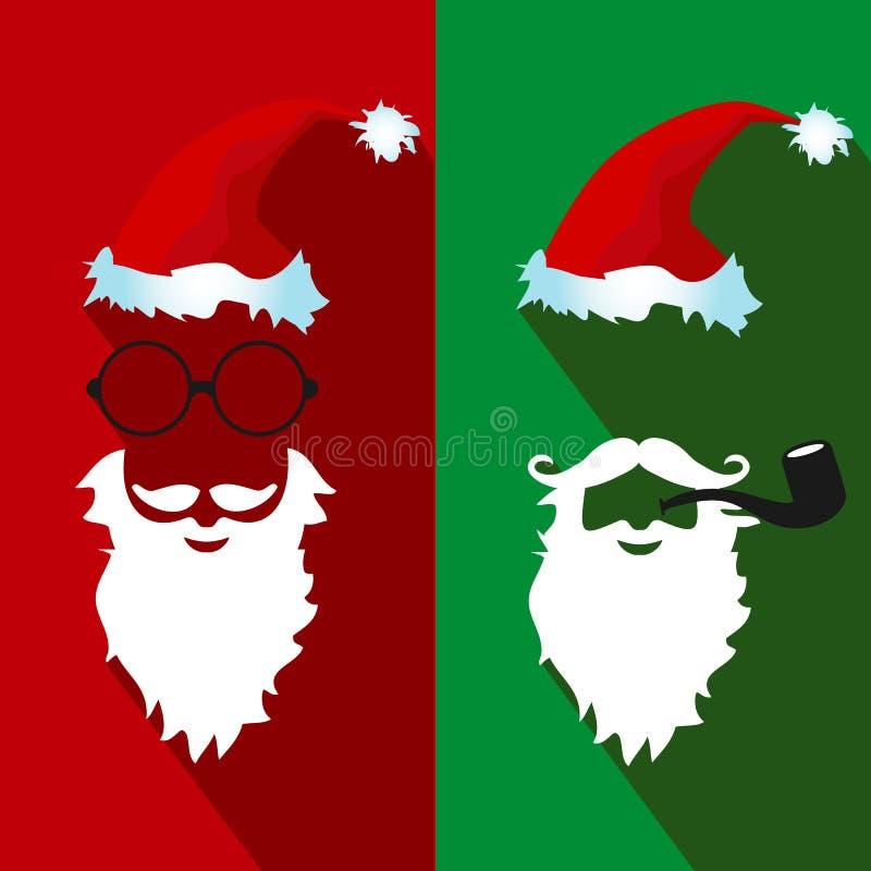 Santa Claus stawia czoło płaskie ikony z długim cieniem royalty ilustracja