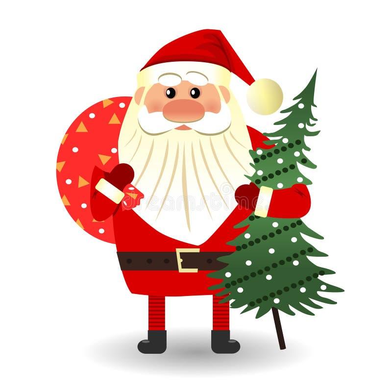 Santa Claus steht mit einer Tasche von Geschenken lizenzfreie abbildung
