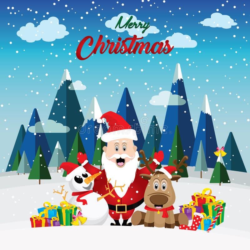 Santa Claus steht zwischen einem Schneemann und einem Zügelrotwild stock abbildung