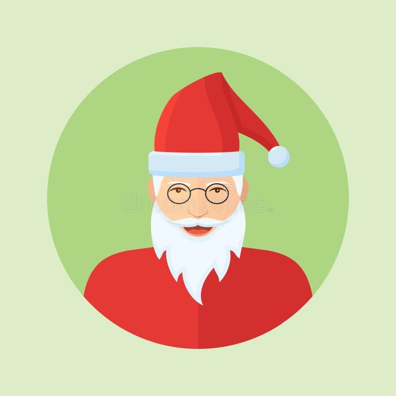Santa Claus stellen flache runde Ikone auf grünem Hintergrund gegenüber lizenzfreie abbildung