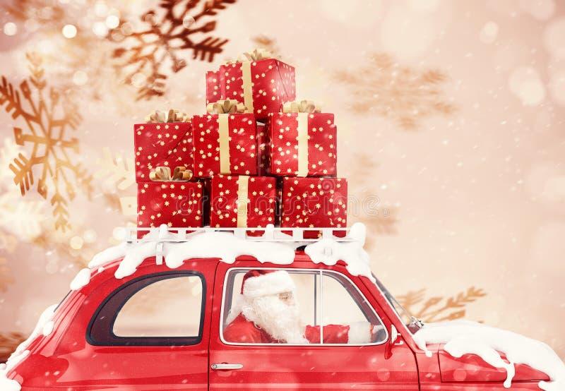 Santa Claus su un'automobile rossa in pieno di regalo di Natale con il fondo dei fiocchi di neve guida per consegnare fotografie stock