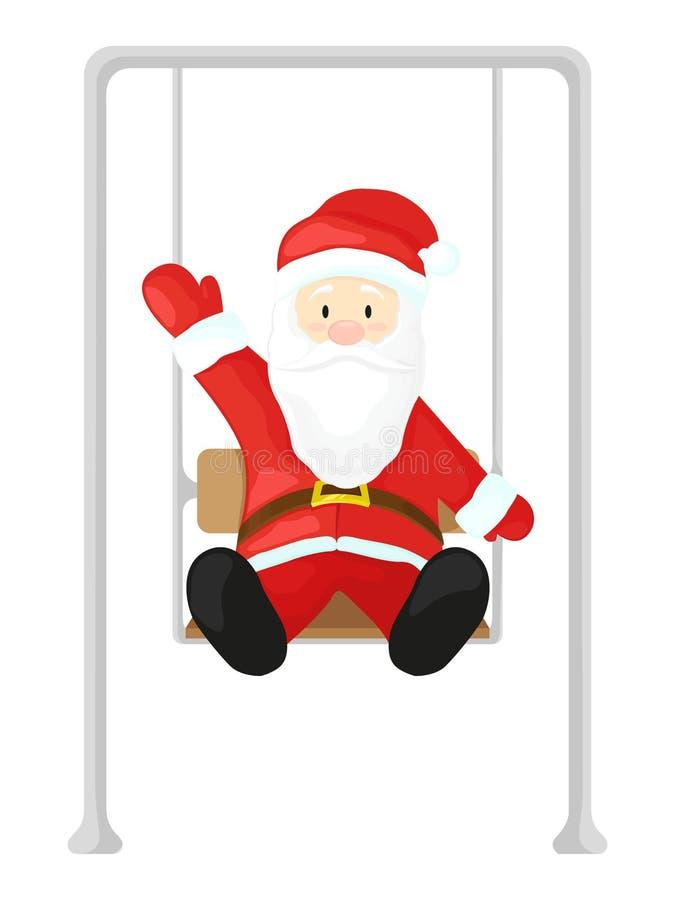 Santa Claus su un'oscillazione Vector l'illustrazione nello stile del fumetto isolata su fondo bianco illustrazione vettoriale