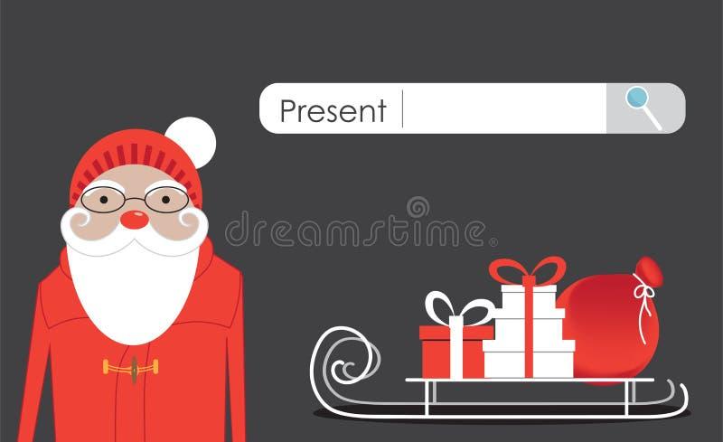 Santa Claus sucht nach Geschenken im Internet vektor abbildung