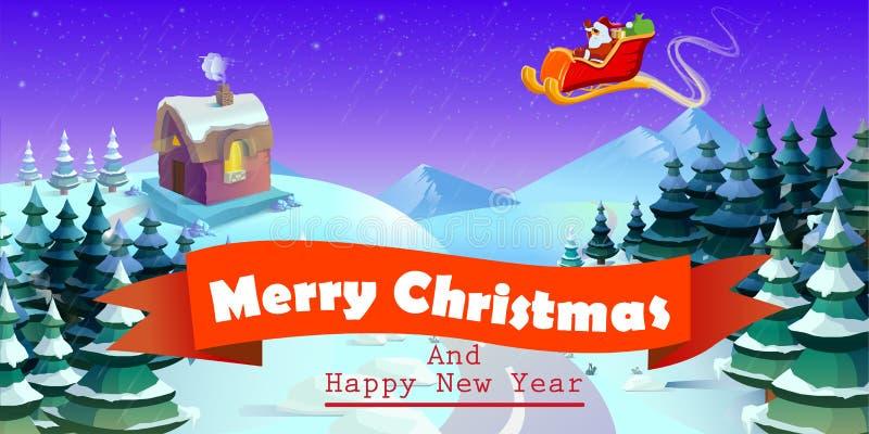 Santa Claus sulla slitta e sulle sue renne Città di inverno Paesaggio urbano illustrazione vettoriale