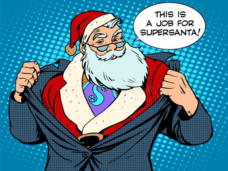 Santa Claus Super Hero vektor illustrationer