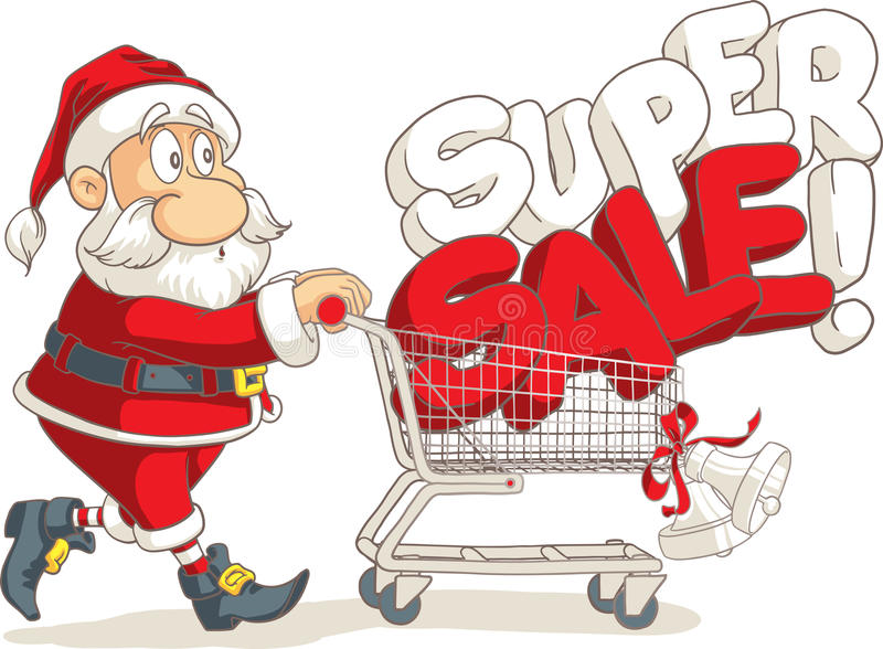 Santa Claus Super Sale Vector Cartoon royaltyfri illustrationer