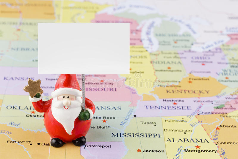 Santa Claus sur la carte des Etats-Unis image stock