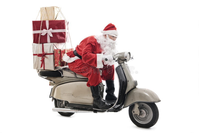 Santa Claus sur le scooter de vintage photographie stock libre de droits