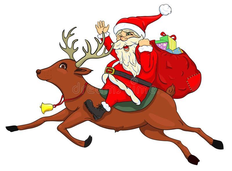 Santa Claus sur un cerf commun illustration libre de droits