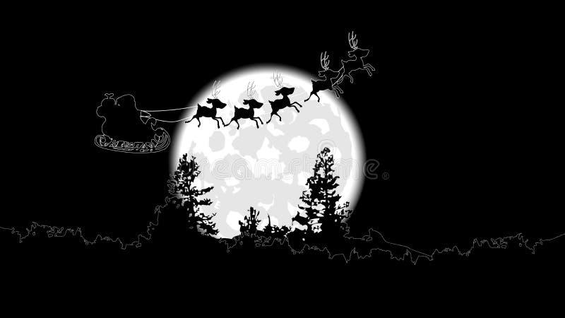 Santa Claus sur un manche à balai vole contre une pleine lune illustration de vecteur