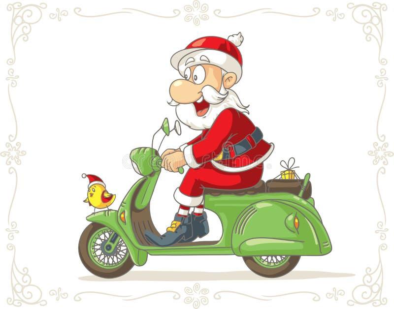 Santa Claus sur une bande dessinée de vecteur de scooter illustration libre de droits