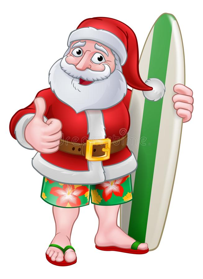 Santa Claus Surf Christmas Cartoon royalty-vrije illustratie